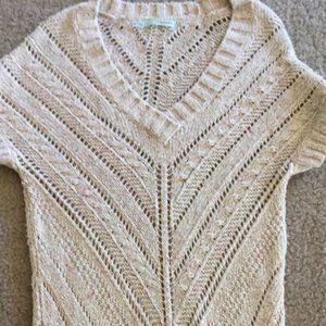 Eyelet short sleeve sweater dress